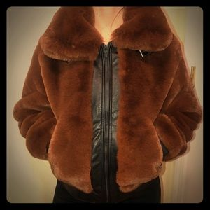 Blanknyc Faux Fur & Leather Bomber XS